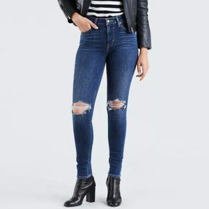 Levis 721 High Rise Skinny Destroyed Stretch Jeans